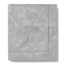 """Acanthus Table Linen by Sferra, Gray, Square Tablecloth, 90""""x90"""""""