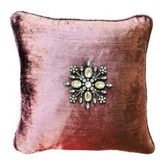 Lavender-Purple-Violet Handbeaded Velvet Pillow, Removable Pin, Silversnowfl