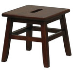 Winsome Wood - Step Stool, Walnut - This Walnut Step Stool makes an indispensable addition to your household, enabling you to reach all those hard-to-get items in cupboards. The small 12-inch footprint makes it easy to store, while providing plenty of surface area for stable stepping. It's great for washing walls, reaching high shelves, or you can even use it as a short sitting stool. The walnut finish looks great with traditional decors and it's so cute you may want to just display it in the open.