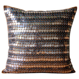 Brown Dotted Metallic Sequins 45x45 Silk Cushions Cover, Metal Maze