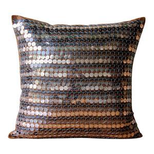 Beaded Sea Horse Brown Cushion Covers, 55x55 Silk Cushions Cover, Metal Maze
