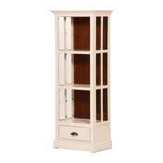 """West Winds 27"""" Open Curio Bookcase, Drawer, Cupola Yellow, Havana Gold"""