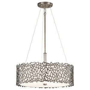 Silver Luxury Coral Duo-Mount Pendant, Classic Pewter Finish