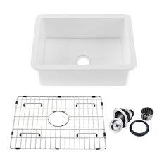 "27"" White Fireclay Farmhouse Undermount Kitchen Sink With Bottom Grid and Strain"