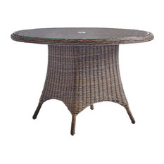 "South Sea Rattan Del Ray Outdoor 48"" Round Dining Table in Chestnut 76617"