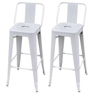 VidaXL Bar Chairs, White, Square, Set of 2