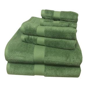 6-PC Super Soft Rayon Bamboo Cotton Towel Set, Sage Green