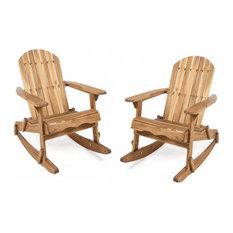 GDF Studio Vivian Acacia Adirondack Rocking Chair, Natural Stained, Set of 2