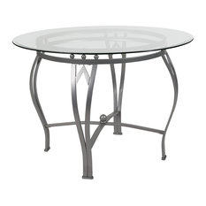 "Offex 42"" Round Glass Dining Table With Silver Metal Frame"