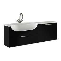 Today Vanity, Quartz Countertop and Ceramic Washbasin, Glossy Black