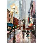 "Bayland Collection - ""Rainy Paris Streets XI""  Oil Painting Print on Wrapped Canvas; Modern Fine Art - Up the ante of your gallery wall with this hand-wrapped canvas print, crafted in the United States.Add this piece above your favorite sofa for a museum-worthy focal point, then lean into the print's versatility by rounding out the space with a clean-lined one-drawer end table and rolled arm seating options for a transition arrangement."