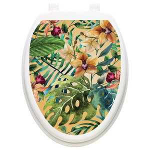 Tropical Forest Toilet Tattoos Toilet Lid Decal Toilet Seat Cover Tropical Wall Decals By Lena Fiore Inc Dba Toilet Tattoos