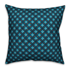 """Blue Floral Squares Outdoor Throw Pillow, 16""""x16"""""""