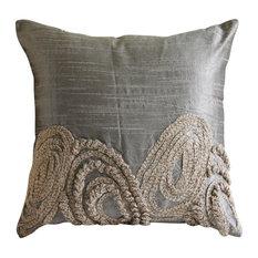 """Jute Swirls Silver Pillow Shams, Art Silk 24""""x24"""" Pillow Sham, Silver Jute"""