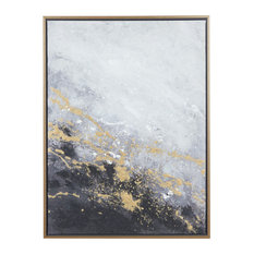 Rectangular Dark Grey And Gold Foil Abstract Corner Wall Art With Gold Frame