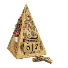 "11""W Ancient Egyptian Pyramid Collectible Desktop Calendar Statue Sculpture"