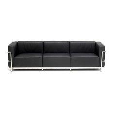 Le Corbusier Extra Grande Sofa in Italian Leather, Black Top Grain Italian Leath