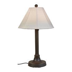 "34"" Outdoor Table Lamp 2"" Bronze Resin Body/Natural Canvas Sunbrella Shade Cover"