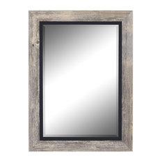 "Coastal III Gray and Black Wall Mirror, 31.5""w X 67.5""h"