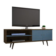 Liberty 62 99 Mid Century Modern Tv Stand With 3 Shelves And 2 Doors