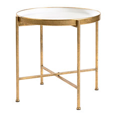 InnerSpace Luxury Products   Large Gild Pop Up Tray Table, White   Side  Tables And