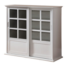 Pilaster Designs   Arran Wood Curio Cabinet With Sliding Glass Doors, White    China Cabinets