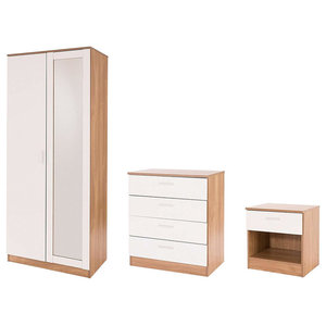 Bedroom Furniture Set, Mirrored Wardrobe, Chest, Bedside Cabinet, White & Oak