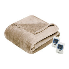 Solid Microlight Heated Blanket, Tan, King