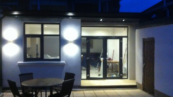 Completed Kitchen Extension With Exterior Lighting