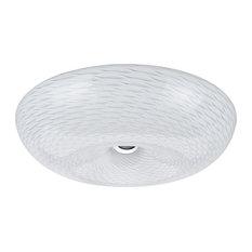"63001M LED Medium Flush Mount Ceiling Light Fixture, Chrome 16"" Diameter"