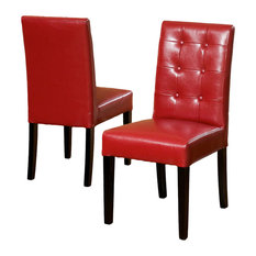 GDF Studio Gillian Red Leather Dining Chairs, Set of 2