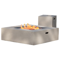 GDF Studio Hearth Square 50K BTU Gas Fire Pit Table With Tank Holder, White