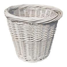 Large White Wicker Waste Paper Basket