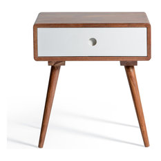 Ingrid Mid Century Modern White Bedside Table With Drawer