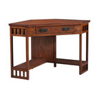 Leick Furniture Corner Computer Desk, Mission Oak