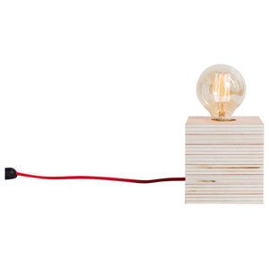 Barcelona Table Lamp, Red Cable, Natural Wood