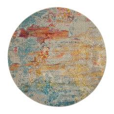 "Nourison Celestial Contemporary Area Rug, Multicolor, 5'3"" Round"