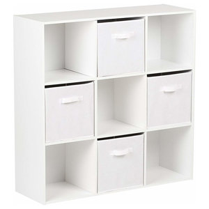 Modern 4-Drawer and Storage Cabinet, Painted MDF, White