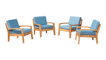 4-Piece Outdoor Wood Club Chairs, Cushions
