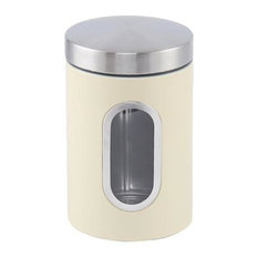 Stainless Steel Canister, 1.2 Litre With Window, Cream