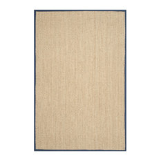 Winifred Natural Fibre Area Rug With Blue Border, 150x245 cm