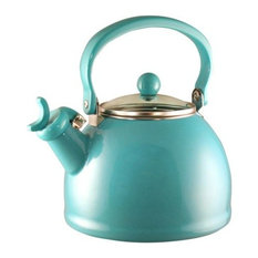 Reston Lloyd Turquoise, Whistling Teakettle With Glass Lid