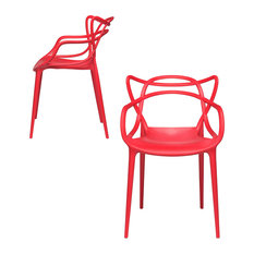 Masters Entangled Chair, Modern, Stackable, Set of 2, Red
