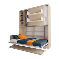 Parete Letto, Twin Wall Bed System With Table, Semi-Gloss White And Light Wood