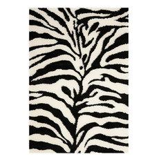 """Safavieh Florida Shag Sg452-1290 Rug, Ivory/Black, 8'6""""x12'0"""""""