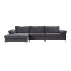 Divano Roma Furniture   Modern Large Velvet Fabric Sectional Sofa, L Shape  Couch With