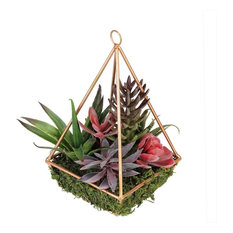 "9"" Artificial Succulents Arrangement in 4-Sided Copper Metal Wire Frame"