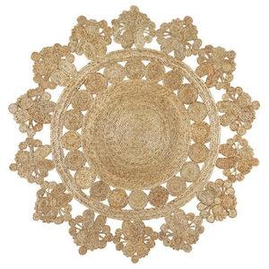Banaras Round Jute Rug, Natural, 150 cm