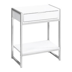 24 in. Accent Table in Glossy White and Chrome Finish