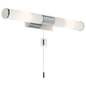 Romford IP44 25 W Wall Light, Chrome and Matte Opal Glass
